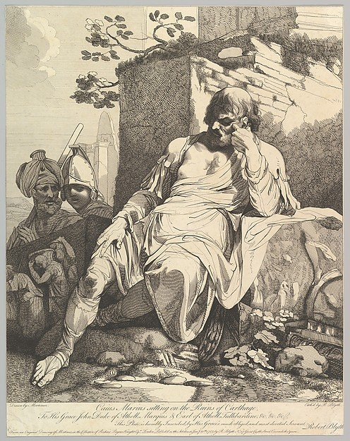 This is What John Hamilton Mortimer and Caius Marius on the Ruins of Carthage Looked Like  on 1/20/1782