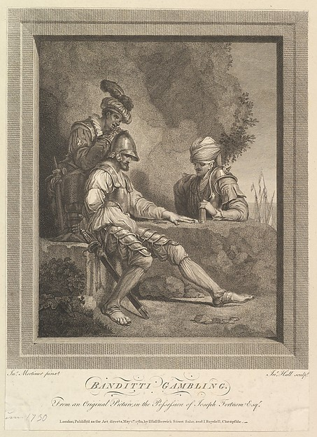 Fascinating Historical Picture of John Hamilton Mortimer with Banditti Gambling on 11/9/1780