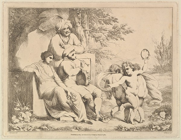Fascinating Historical Picture of Charles Reuben Ryley with Three Putti Dancing to a Piper on 3/1/1780