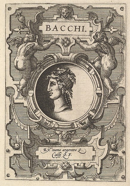Bust of Bacchus surrounded by strapwork, from the series' Deorum dearumque,' a set of images of deities after coins in the collection of Abraham Ortelius