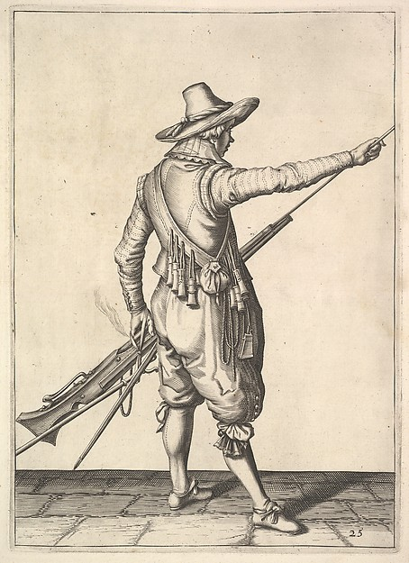 A soldier pulling out the ramrod from its holder, from the Musketeers series, plate 25, in Wapenhandelinghe van Roers Musquetten Ende Spiessen (The Exercise of Arms)