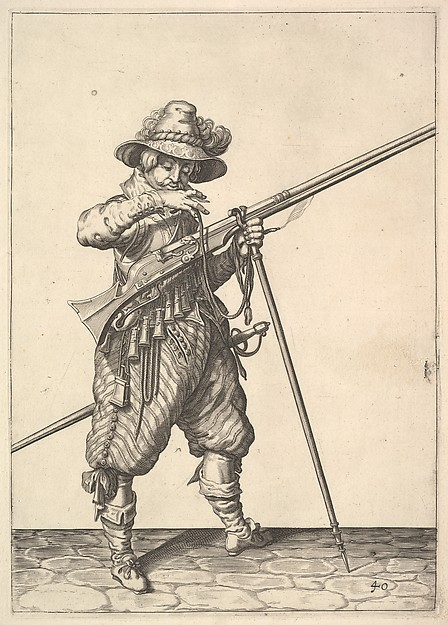 A soldier blowing on a match, from the Musketeers series, plate 40, in Wapenhandelinghe van Roers Musquetten Ende Spiessen (The Exercise of Arms)