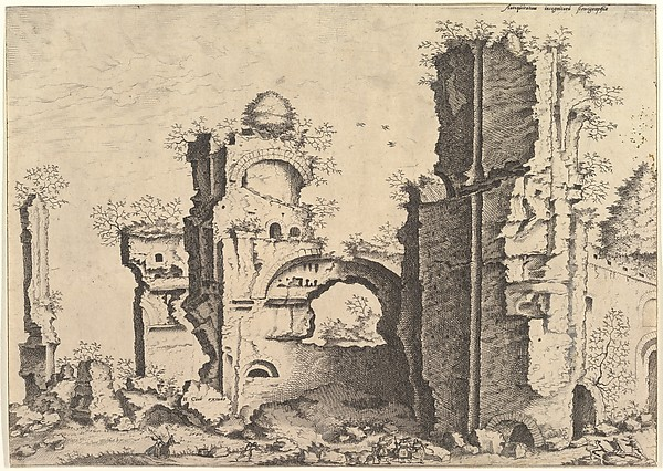 View of ruins, possibly the Baths of Caracalla, from the series 'The Small book of Roman ruins and buildings' (Operum antiquorum romanorum)
