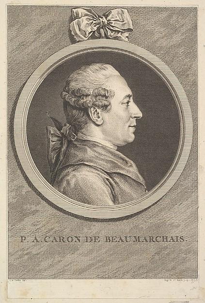 Fascinating Historical Picture of Augustin de Saint-Aubin with Portrait of P. A. Caron de Beaumarchais in 1773