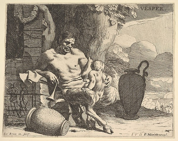Evening: a seated satyr clasps his child, a figure hangs a garland on a pier beyond, from the series 'Hours of the day'