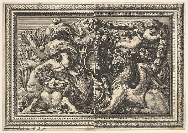 Design for a Panel with Two Variants containing a Hippocamp and a Griffin, from: Ornements de panneaux à la romaine