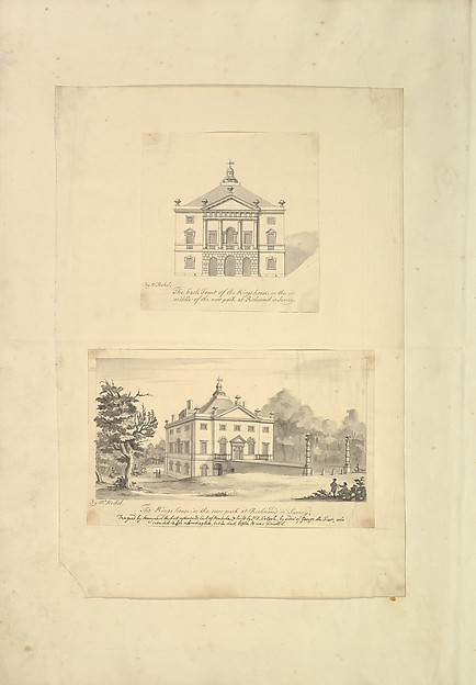Fascinating Historical Picture of Augustus Heckel with Leaf from Aedes Walpolinae mounted with (a)| Elevation of Back Facade of the Kings House Richmond in 1727