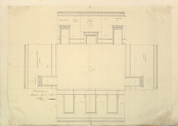 Treasury House, 10 Downing Street, London: Plan of the Great Middle Room (Sir Robert Walpole's Levee Room, Northwest Corner, First Floor)