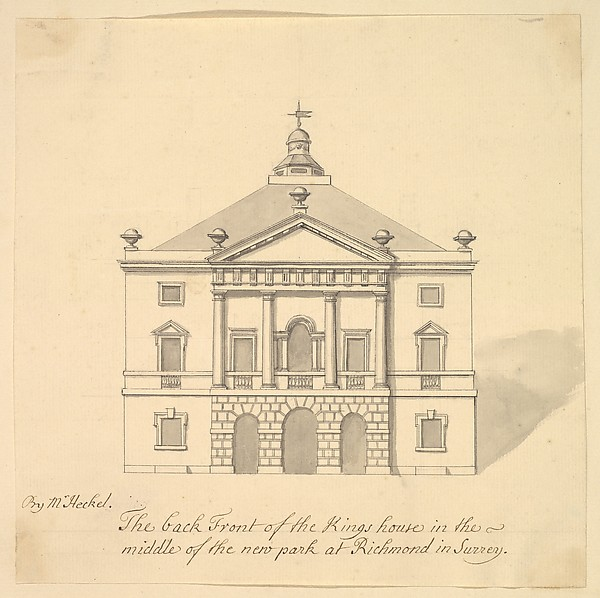 Fascinating Historical Picture of Augustus Heckel with Elevation of Back Facade of the Kings House Richmond Surrey in 1727