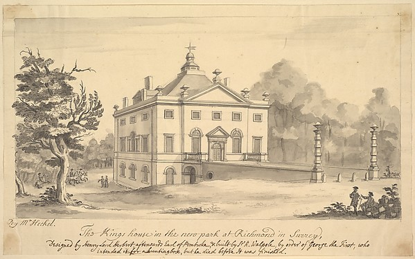 Fascinating Historical Picture of Augustus Heckel with Perspective View of the Entrance Front of the Kings House Richmond Surrey in 1727