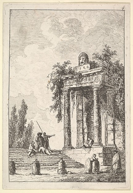 Fascinating Historical Picture of Hubert Robert with Plate 4| remains of a classical monument to right surmounted by a mask and tablet a figure sitting in 1763