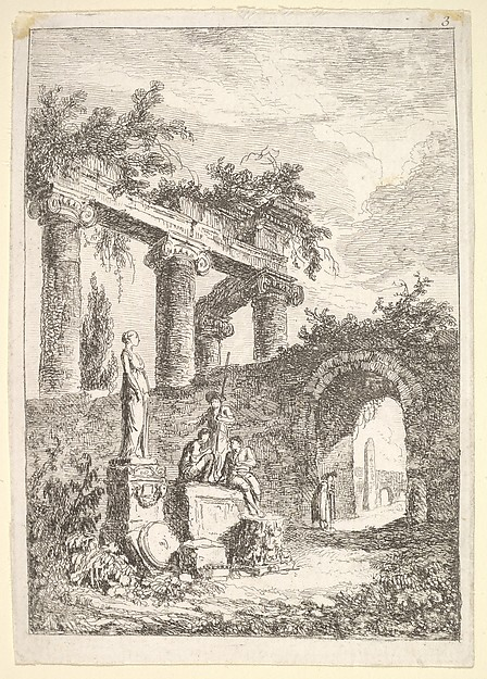 Fascinating Historical Picture of Hubert Robert with Plate 3| The Statue Before the Ruins| a statue to left next to three figures on a pedestal a beggar in 1763