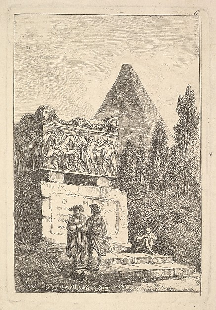 Fascinating Historical Picture of Hubert Robert with Plate 6| The Sarcophagus| two men conversing to left another man seated and sleeping to right an a in 1763