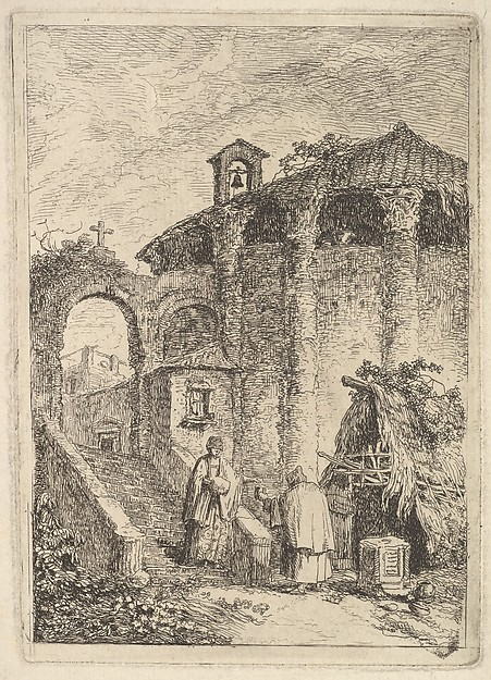 Fascinating Historical Picture of Hubert Robert with Plate 5| The Ancient Temple| a woman descending a staircase at left and giving alms to a beggar a r in 1763
