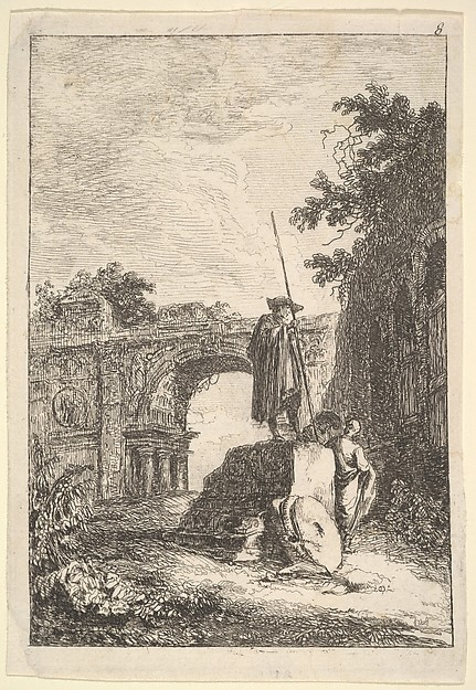 Fascinating Historical Picture of Hubert Robert with Plate 8| The Triumphal Arch| a man standing atop an architectural fragment in center with two men be in 1763