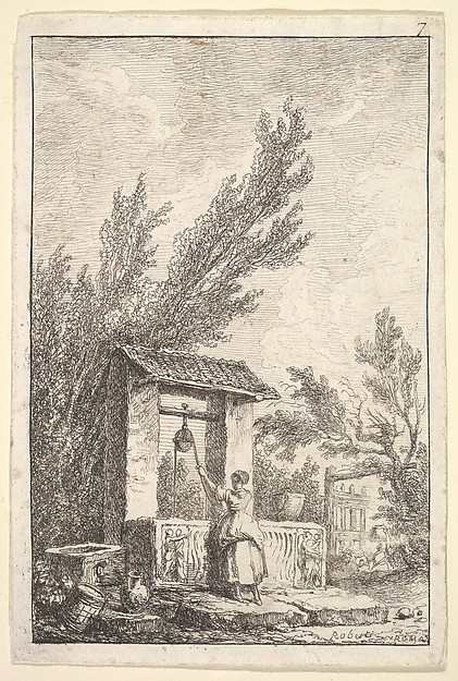 Plate 7: The Well: a young woman in center, seen from behind, drawing water from a well that is decorated with reliefs from an ancient sarcophagus, from 'Les soirées de Rome'