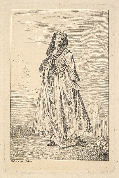 Fascinating Historical Picture of Antoine Watteau with Woman walking and holding her skirt with her right hand shown in three-quarters view with head turn in 1710