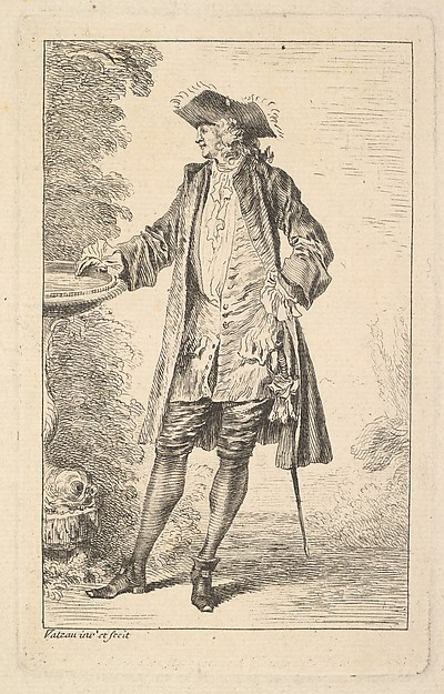 Fascinating Historical Picture of Antoine Watteau with Standing man with his right hand resting on a basin shown in three-quarters view with his head turn in 1710