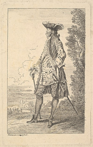 Fascinating Historical Picture of Antoine Watteau with Man walking and carrying a cane in his right hand shown in three-quarters view with his head turned in 1710