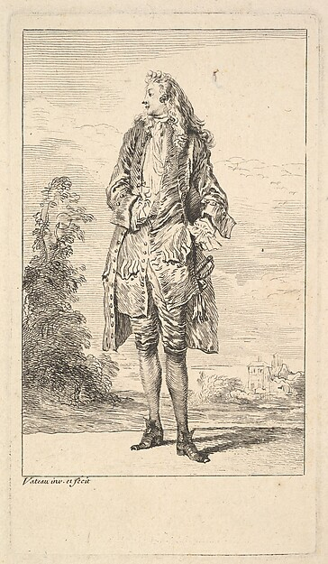 This is What Antoine Watteau and Standing man with right hand tucked into his waistcoat shown in frontal view with his head turned t Looked Like  in 1710