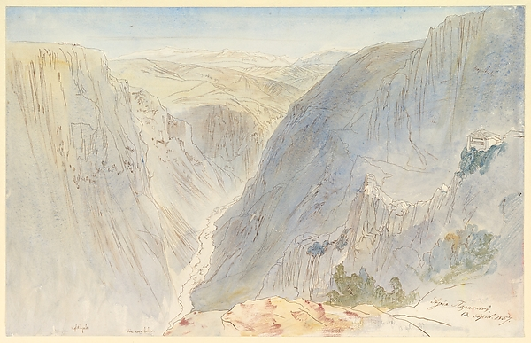 Fascinating Historical Picture of Edward Lear with Agia Paraskevi Epirus Greece on 4/13/1857