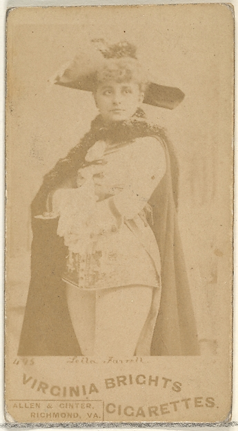 Card 495, Leila Farrell, from the Actors and Actresses series (N45, Type 1) for Virginia Brights Cigarettes