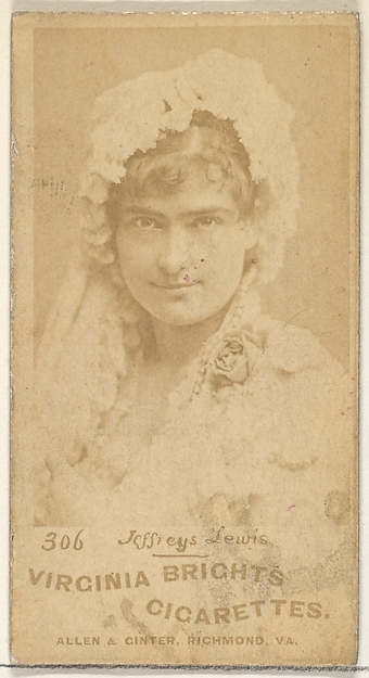 Card 306, Jeffreys Lewis, from the Actors and Actresses series (N45, Type 1) for Virginia Brights Cigarettes