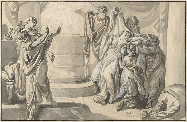 Fascinating Historical Picture of Johann Eleazar Zeissig called Schenau with An Antique Sacrificial Scene; verso| Sketch of a Group of People in 1779