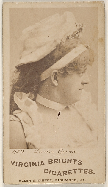 Card 420, Louisa Searle, from the Actors and Actresses series (N45, Type 1) for Virginia Brights Cigarettes