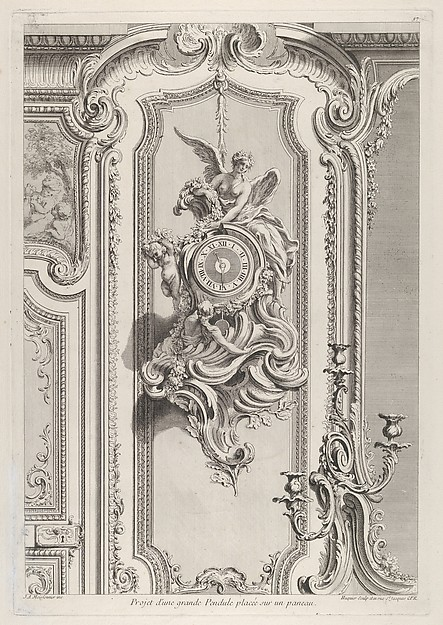 Fascinating Historical Picture of Juste Aurle Meissonnier with Projet dune grande Pendule from Oeuvre de Juste Aurele Meissonnier in 1742