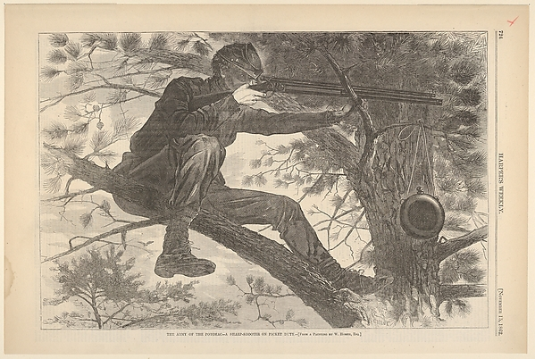 The Army of the Potomac – A Sharp-Shooter on Picket Duty – From a Painting by Winslow Homer, Esq. (from Harper's Weekly, Vol. VII)