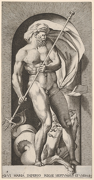 Plate 5: Neptune standing in a niche holding a trident with a seahorse behind him, from a series of gods and goddesses