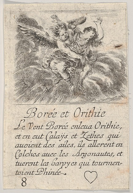 Boreas and Orithyia, from 'Game of Mythology' (Jeu de la Mythologie)