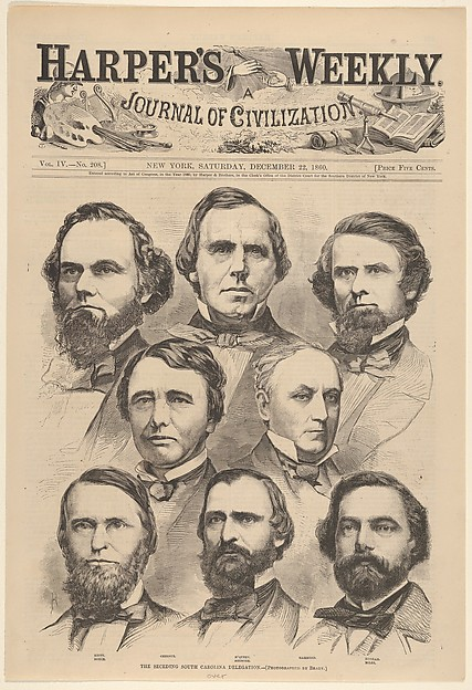 Fascinating Historical Picture of Mathew B. Brady with The Seceding South Carolina Delegation [Photographed by Brady] (from Harpers Weekly Vol. IV) on 12/22/1860