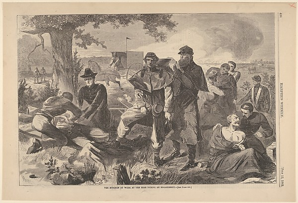 Fascinating Historical Picture of Winslow Homer with The Surgeon at Work at the Rear During an Engagement (Harpers Weekly Vol. VII) on 7/12/1862