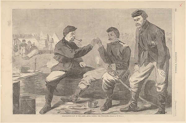 Fascinating Historical Picture of Winslow Homer with Thanksgiving Day in the Army  After Dinner| The Wish-Bone  Drawn by Winslow Homer (H on 12/3/1864