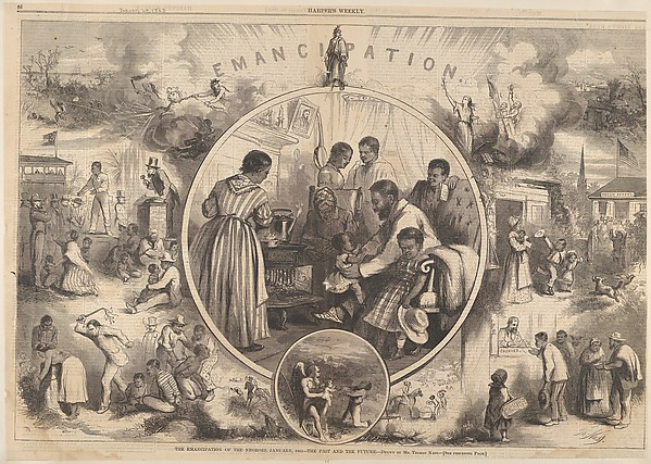 Fascinating Historical Picture of Thomas Nast with Emancipation of the Negroes  The Past and the Future (from Harpers Weekly) on 1/24/1863