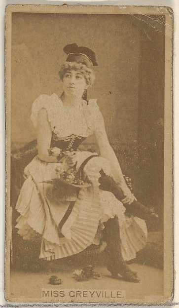 Miss Greyville, from the Actors and Actresses series (N45, Type 8) for Virginia Brights Cigarettes