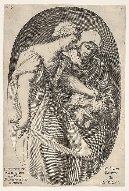 Judith with the head of Holofernes in her left hand and a sword in her right hand, accompanied by a female attendant, from a series of four Old Testament subjects