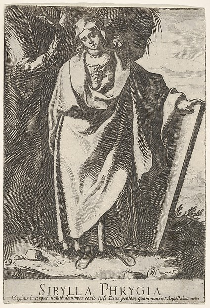 Plate 9: the Phrygian Sibyl grasping the top of a tablet with her left hand and making a pointing gesture with her right hand, held at her chest, a tree and hilly landscape beyond, from the series 'Sibyls'