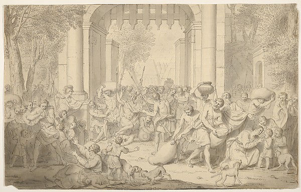 Fascinating Historical Picture of Louis Fabritius Dubourg with Roman Soldiers Attacking a City in 1734