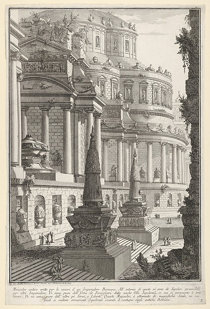 Fascinating Historical Picture of Giovanni Battista Piranesi with Plate 3| Ancient mausoleum erected for the ashes of a Roman emperor (Mausoleo antico eretto per le in 1743