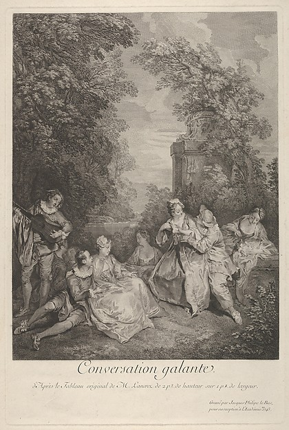 Fascinating Historical Picture of Jacques Philippe Le Bas with Gallant conversation (Conversation galante)| couples engage in conversation in a garden setting a in 1743