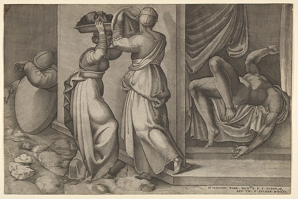 Judith giving the head of Holofernes on a platter, which is about to be covered with a cloth, to her servant, with the foreshortened, naked body of Holofernes at right