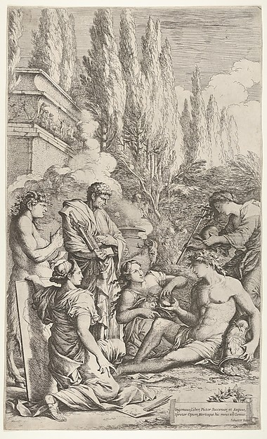 Genius of Salvator Rosa: a youth crowned with ivy hands a heart to a woman seated next to him, his left hand rests on a cornucopia spilling coins and jewels onto the ground, at right a woman holds a cap over the youth's head, at left a kneeling woman grasps the top of a painting, a man in a toga gestures toward a book and a balance, a satyr makes a pointing gesture, cypress trees and a sarcophagus beyond