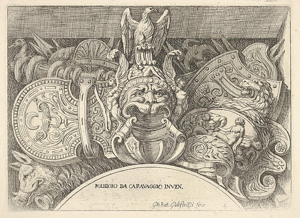 This is What Giovanni Battista Galestruzzi and Plate 4| trophies of Roman arms from decorations above the windows on the second floor of the Palazz Looked Like  in 1656