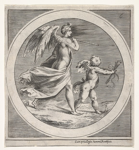 """Venus Triumphant and Amor"" (reverse copy after Cherubino Alberti, from ""Mythological Subjects"" after Polidoro da Caravaggio)"