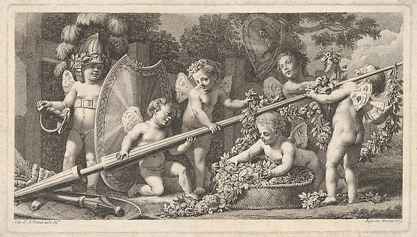 Six putti playing with the arms of Mars, four holding onto a large lance, one on the left wearing a helmet and a sword belt, holding a shield upright, and one placing a garland of flowers and leaves in a basket at right