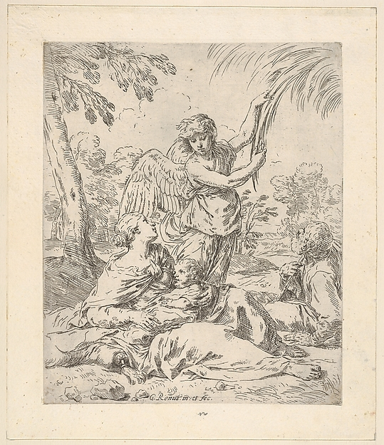 Fascinating Historical Picture of Simone Cantarini with Repose in Egypt Mary nursing the infant Christ while an angel pulls at tree branches in 1630