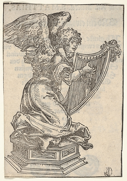 Fascinating Historical Picture of Elder with A Silver Statuette of an Angel Playing the Harp from the Large Series of Wittenberg Reliquaries in 1509